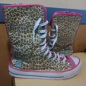 SKECHERS SEQUIN leopard high hi top sneakers